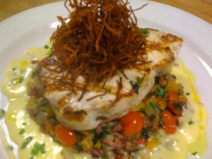 Grilled >Swordfish on Beef Hash with Vermouth Beurre Blanc