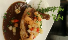 Sautéed Poularde Breast with Tamarind BBQ sauce and Tropical Fruit Salsa